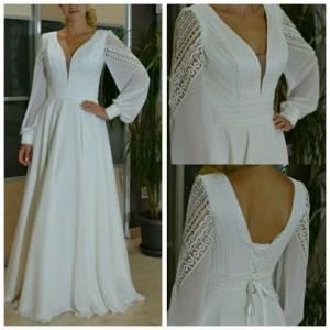 Фото Свадебные платья Непышное стильное свадебное платье для полных и беременных Даная