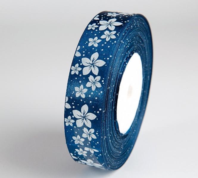 Фото Ленты, Лента атласная  с цветочками Лента   атласная  2,5 см.   тёмно - Синяя  в  белый  цветочек.