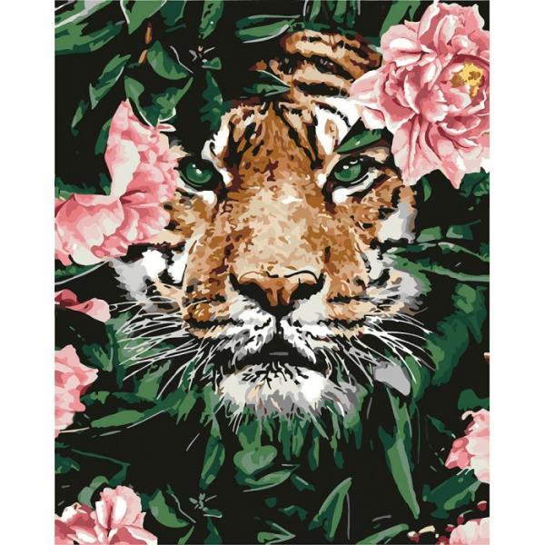 Фото Картины на холсте по номерам, Картины  в пакете (без коробки) 50х40см; 40х40см; 40х30см, Животные, птицы, рыбы KHO 4172 Отважный тигр Роспись по номерам на холсте (без коробки) 40х50см
