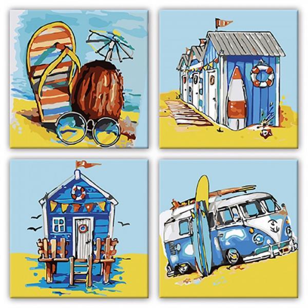 Фото Картины на холсте по номерам, Картины  в пакете (без коробки) 50х40см; 40х40см; 40х30см, Пейзаж, морской пейзаж. KNP 016 Летние приключения Роспись по номерам на холсте 18х18см 4шт.