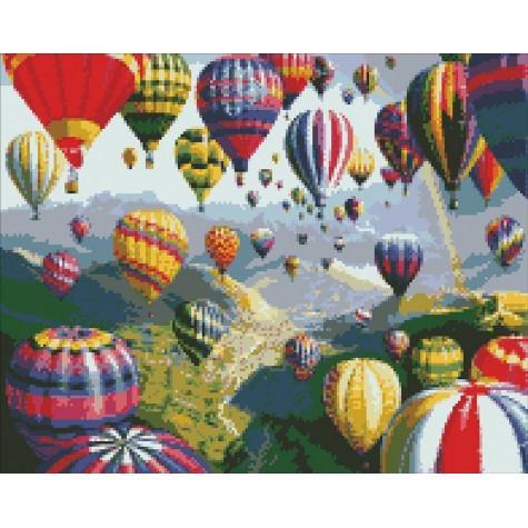 Фото  АМ 6114  Воздушные шары Набор для творчества алмазная живопись 40х50 см холст натянут на ДВП в раме
