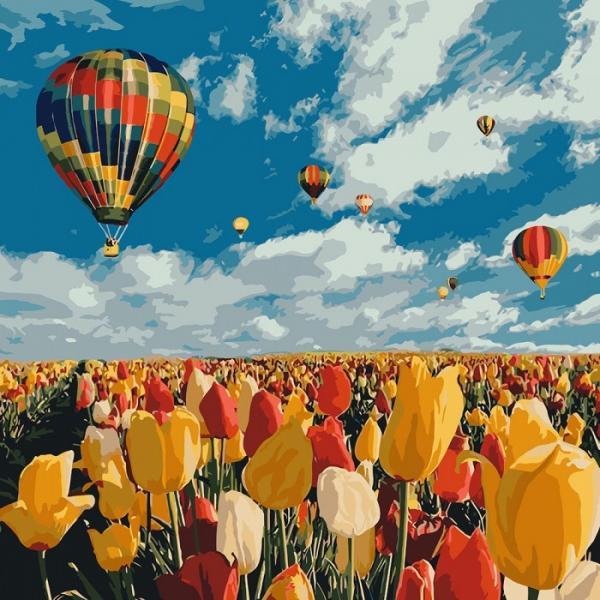 Фото Картины на холсте по номерам, Букеты, Цветы, Натюрморты KH 2281 Полёт в будущее Роспись по номерам на холсте 40х40см