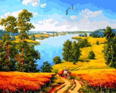 Фото Картины на холсте по номерам, Моя Україна Картина по номерам Q 2180 Дорога среди полей  40х50см