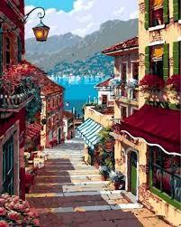 Фото Картины на холсте по номерам, Городской пейзаж Q951 Поселок Белладжио Роспись по номерам на холсте 40х50см