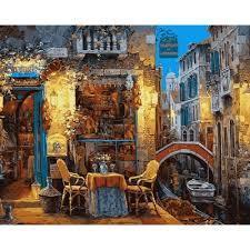 Фото Картины на холсте по номерам, Городской пейзаж VP 642 Венецианское кафе Роспись по номерам на холсте 40х50см
