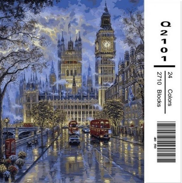 Фото Картины на холсте по номерам, Городской пейзаж Q2101 Роспись по номерам на холсте 40х50см