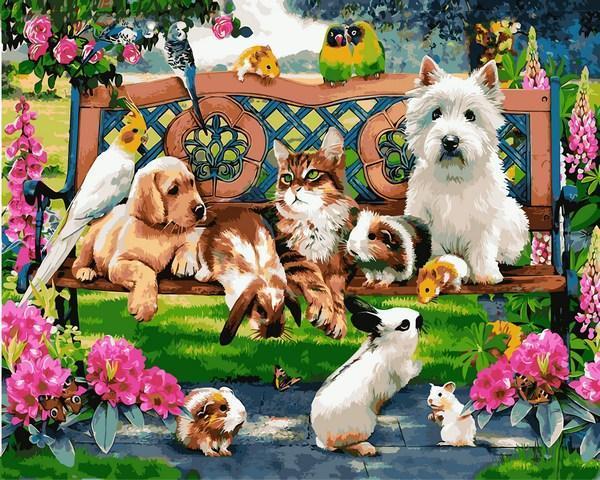 Фото Картины на холсте по номерам, Животные. Птицы. Рыбы... Q2227 Домашние животные в парке Роспись по номерам на холсте 40х50см