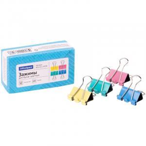 Фото Канцелярские товары (ЦЕНЫ БЕЗ НДС), Зажимы для бумаг Зажимы для бумаг 25мм, OfficeSpace, 12шт., цветные, картонная коробка