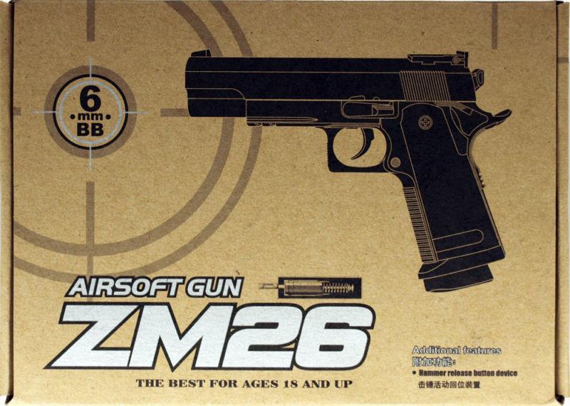 Фото Игрушечное Оружие, Стреляет пластиковыми 6мм  пульками, Металлическое и комбинированное (металл + пластик) оружие Детский игрушечный пистолет металлический ZM26  (Colt 1911 - A1)