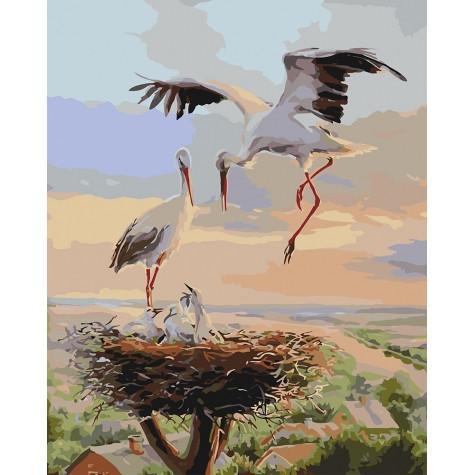 Фото Картины на холсте по номерам, Животные. Птицы. Рыбы... KH 4142 Семейное гнездышко Картина по номерам на холсте 40х50см