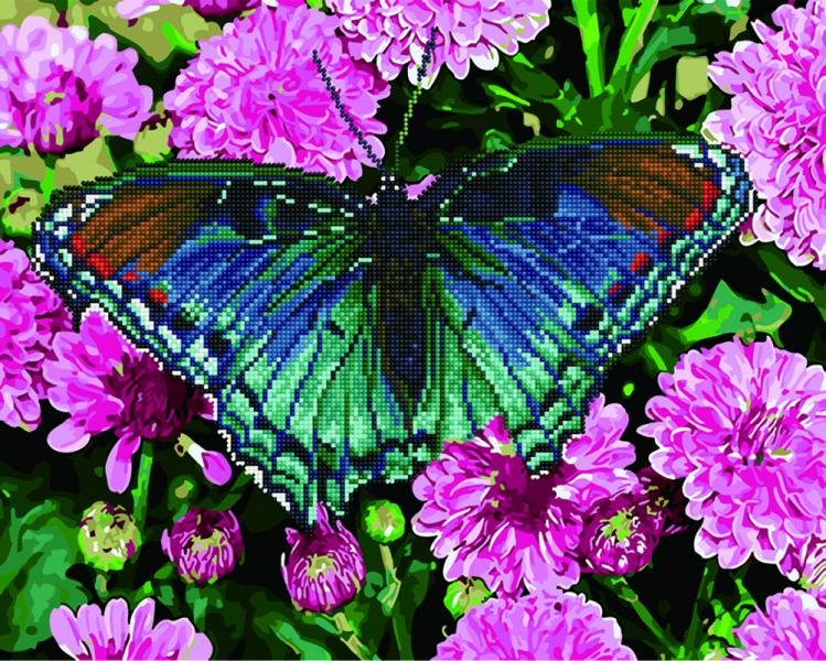 Фото  GZS 1032 Тропическая бабочка Алмазная картина-раскраска (смешанная техника)