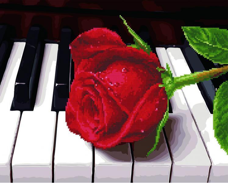 Фото  GZS 1018 Роза на рояле Алмазная картина-раскраска (смешанная техника)