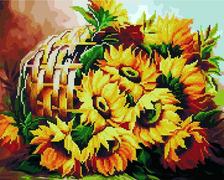 Фото  GZS 1080 Корзинка подсолнухов Алмазная картина-раскраска (смешанная техника)