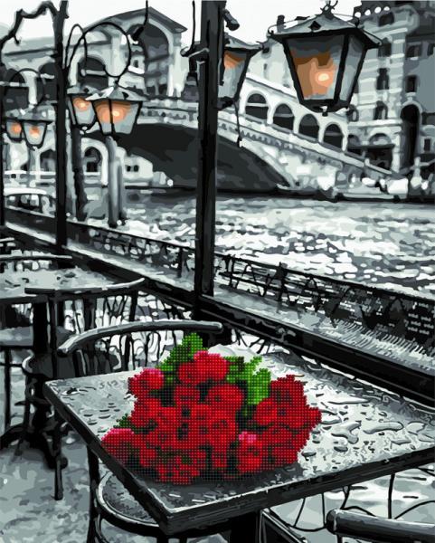 Фото  GZS 1090 Розы под дождём Алмазная картина-раскраска (смешанная техника)