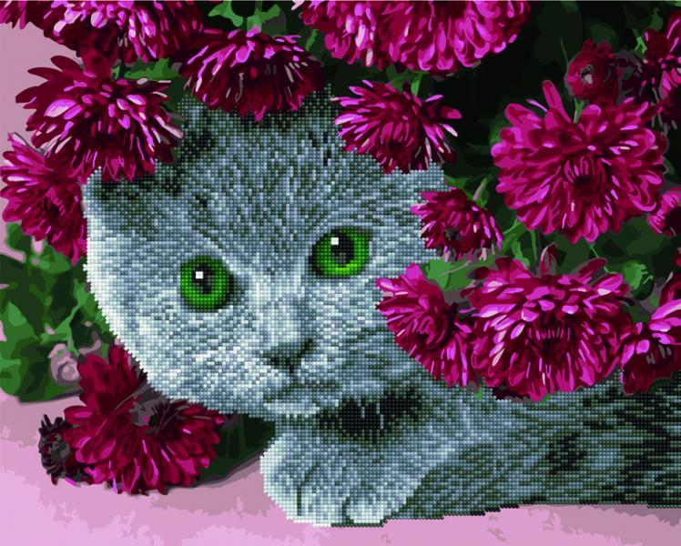 Фото  GZS 1093 Кот в цветах Алмазная картина-раскраска (смешанная техника)