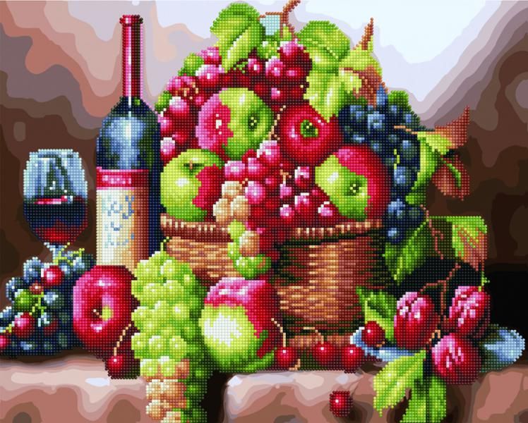 Фото  GZS 1110 Натюрморт с вином Алмазная картина-раскраска (смешанная техника)
