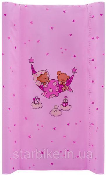 Пеленальный матрас Maltex мягкий 50х80 см  мишка в гамаке, розовый