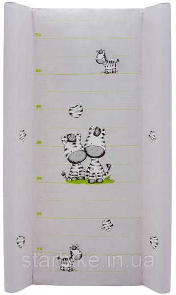 Пеленальный матрас Maltex мягкий 50х80 см  zebra, серый