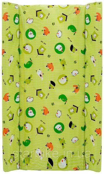 Пеленальный матрас Maltex мягкий 50х80 см  птицы, домики, зеленый