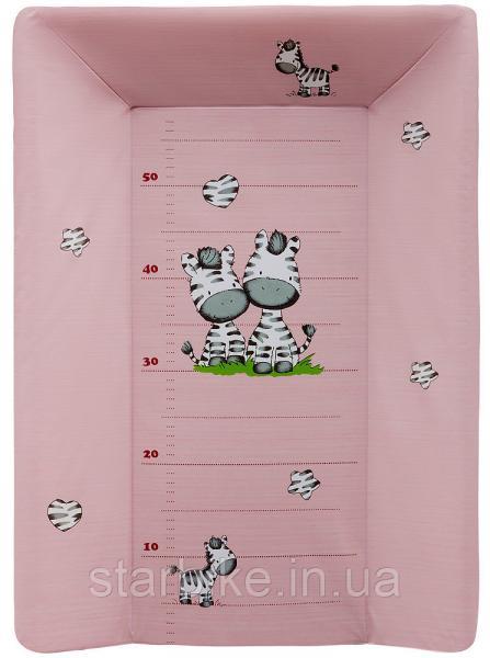 Пеленальный матрас Maltex мягкий с изголовьем 50х70 см  zebra, розовый