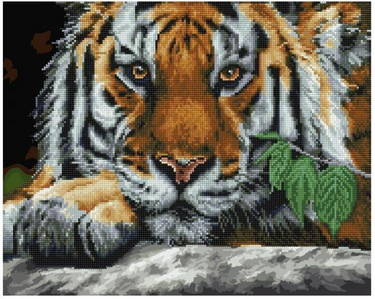 Фото  GZS 1009 Взгляд тигра Алмазная картина-раскраска (смешанная техника)