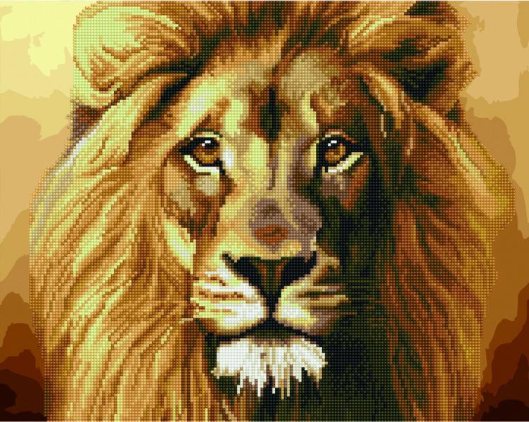 Фото  GZS 1043 Могучий лев Алмазная картина-раскраска (смешанная техника)