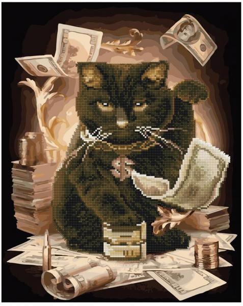 Фото  GZS 1067 Денежный кот Алмазная картина-раскраска (смешанная техника)