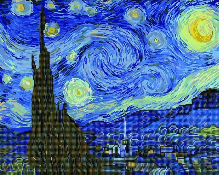Фото  GZS 1001 Звёздная ночь. Ван Гог Алмазная картина-раскраска (смешанная техника)