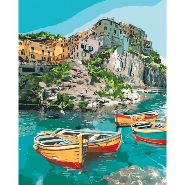 Фото Картины на холсте по номерам, Морской пейзаж KH 2741 Уютная бухта Роспись по номерам на холсте 40х50см