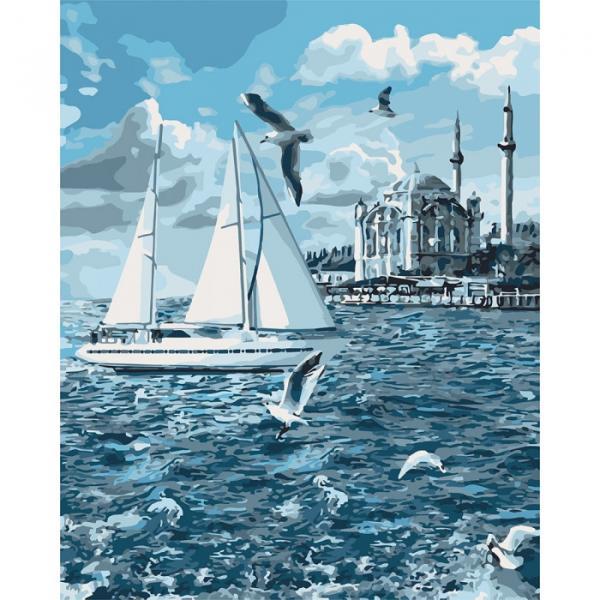 Фото Картины на холсте по номерам, Морской пейзаж KH 2743 Прогулка по Босфору Картина по номерам на холсте 50х40см