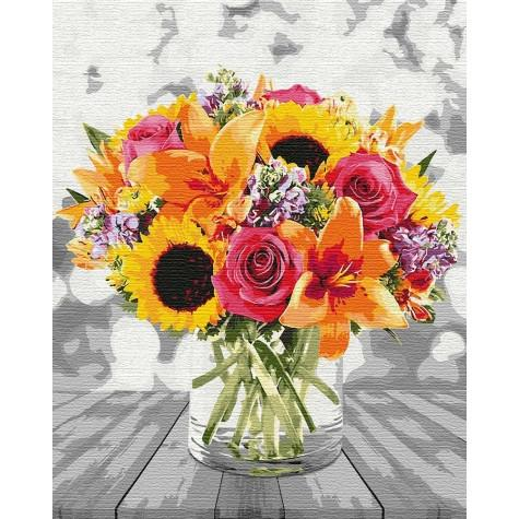 Фото Картины на холсте по номерам, Букеты, Цветы, Натюрморты KH3092 Ярко и стильно Картина по номерам на холсте 50х40см
