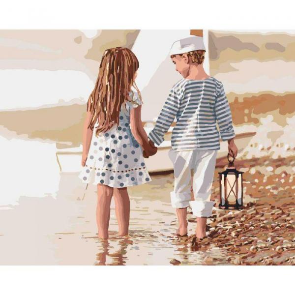 Фото Картины на холсте по номерам, Дети на картине KH 2328