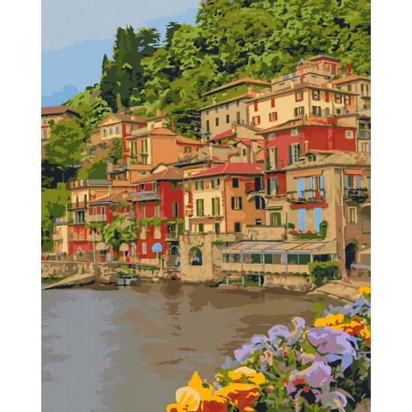 Фото Картины на холсте по номерам, Морской пейзаж KH 2259 Набережная Италии Роспись по номерам на холсте 50х40см в коробке