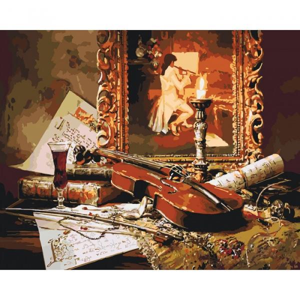 Фото Картины на холсте по номерам, Загородный дом KH 2509 Волшебная музыка скрипки Роспись по номерам на холсте 40х50см