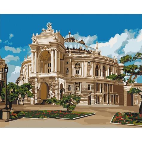 Фото Картины на холсте по номерам, Городской пейзаж KHО 3566 Музыкальное сердце Одессы Картина по номерам на холсте 40х50см, без коробки, в пакете