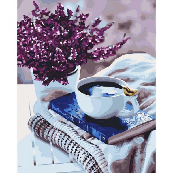 Фото Картины на холсте по номерам, Букеты, Цветы, Натюрморты KH 5580 Лавандовое утро Картина по номерам на холсте, в коробке 40х50см