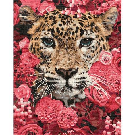 Фото Картины на холсте по номерам, Животные. Птицы. Рыбы... KH 4185 Леопард в цветах Картина по номерам на холсте 50х40см