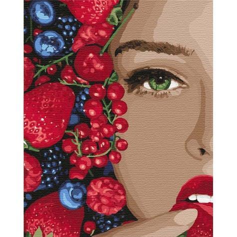 Фото Картины на холсте по номерам, Романтические картины. Люди KH 4739 Сочная ягодка Картина по номерам на холсте 50х40см