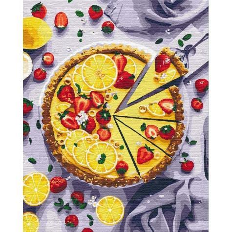 Фото Картины на холсте по номерам, Букеты, Цветы, Натюрморты KH 5594 Лимонный пирог Картина по номерам на холсте 50х40см