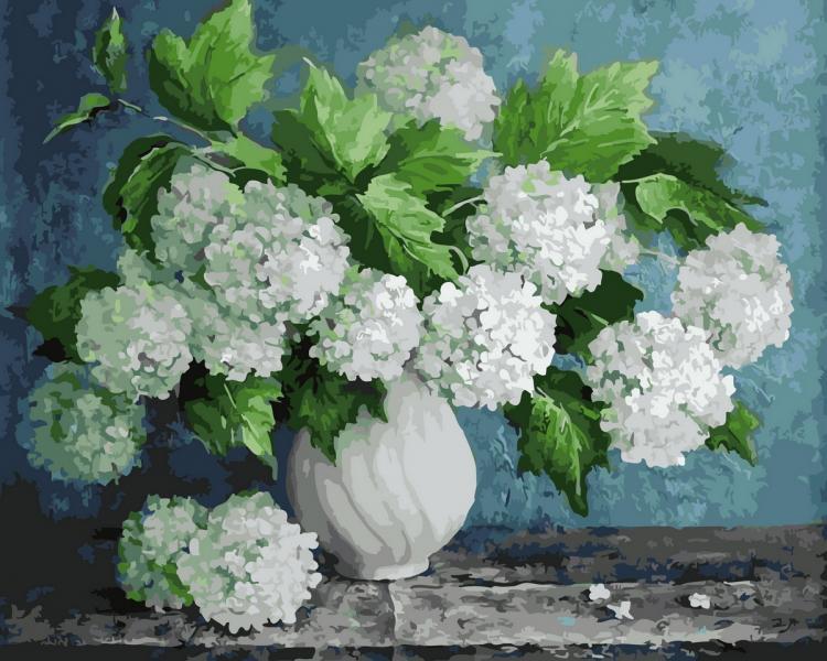 Фото Картины на холсте по номерам, Букеты, Цветы, Натюрморты KGX 29093 Пышный букет в белой вазе Картина по номерам на холсте 40х50см в коробке