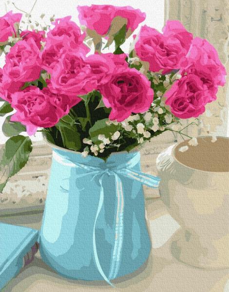 Фото Картины на холсте по номерам, Картины  в пакете (без коробки) 50х40см; 40х40см; 40х30см, Цветы, букеты, натюрморты GX 27194 Букет чайных роз Картина по номерам на холсте 40х50см без коробки, в пакете