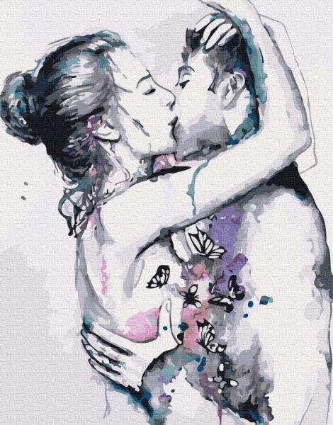 Фото Картины на холсте по номерам, Романтические картины. Люди KGX 27196 Любовь в графике Картина по номерам на холсте 40х50см