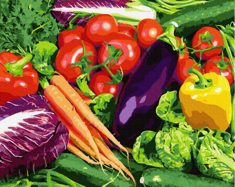 Фото Картины на холсте по номерам, Букеты, Цветы, Натюрморты KGX 27323 Овощи Картина по номерам на холсте 40х50см