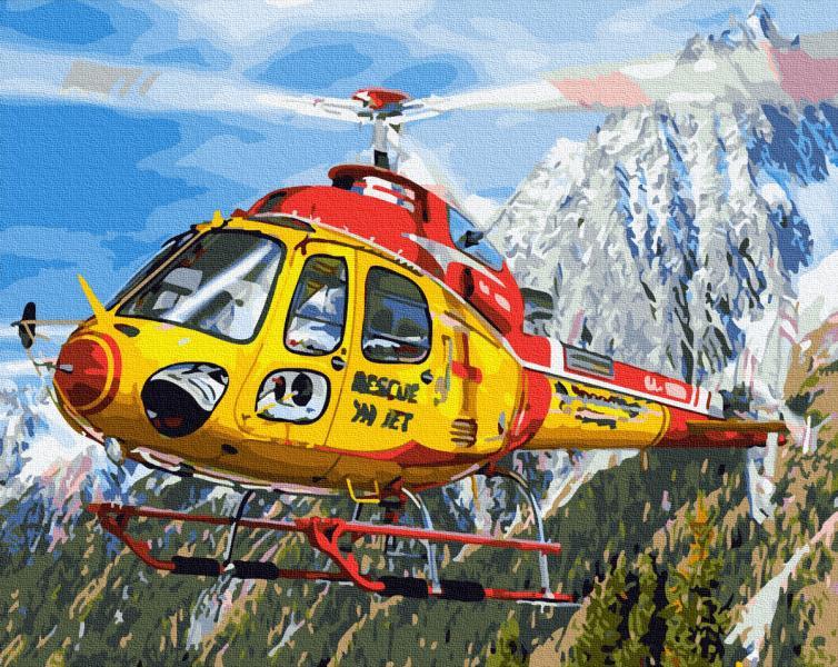 Фото Наборы для вышивания, Вышивка крестом с нанесенной схемой на конву, Пейзаж KGX 27500 Вертолет в Альпах Картина по номерам на холсте 40х50см