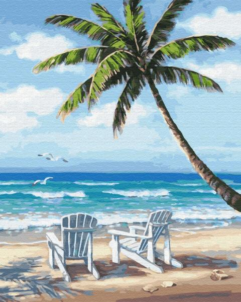 Фото Картины на холсте по номерам, Картины  в пакете (без коробки) 50х40см; 40х40см; 40х30см, Пейзаж, морской пейзаж. GX 28242 Шезлонги на побережье Картина по номерам на холсте 40х50см, без коробки