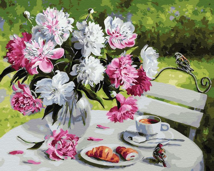 Фото Картины на холсте по номерам, Букеты, Цветы, Натюрморты KGX 29388 Завтрак с пионами Картина по номерам на холсте 40х50см