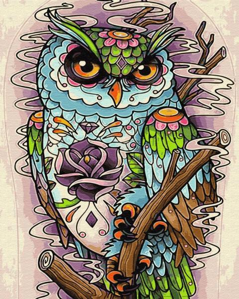 Фото Картины на холсте по номерам, Животные. Птицы. Рыбы... KGX 29394 Арт сова Картина по номерам на холсте 40х50см