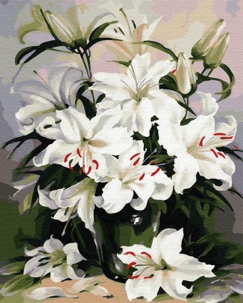 Фото Картины на холсте по номерам, Букеты, Цветы, Натюрморты KGX 29431 Нежные лилии Картина по номерам на холсте 40х50см