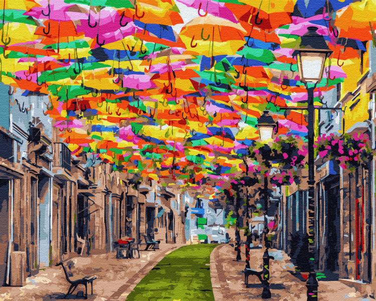 Фото Картины на холсте по номерам, Городской пейзаж KGX 30102 Львовский дворик Картина по номерам на холсте 40х50см