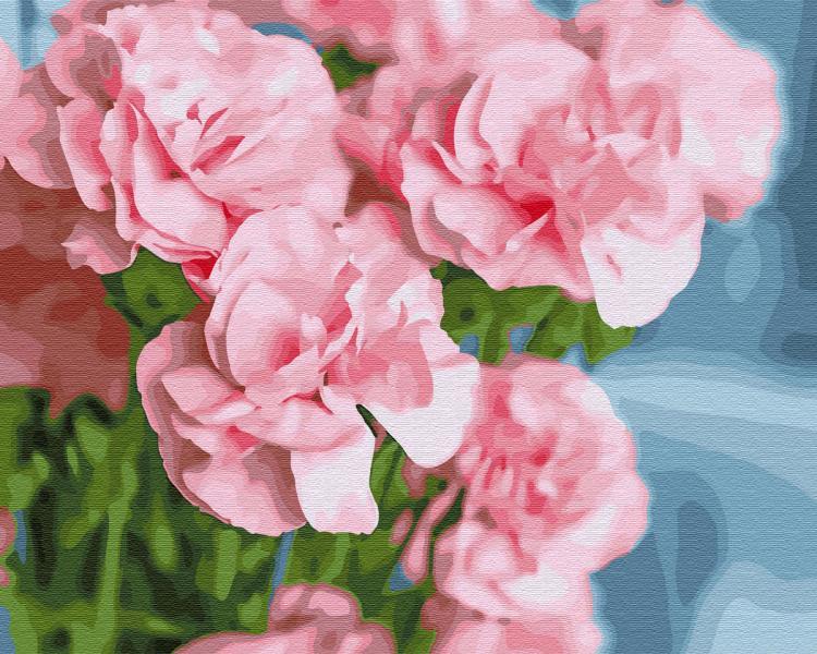 Фото Картины на холсте по номерам, Картины  в пакете (без коробки) 50х40см; 40х40см; 40х30см, Цветы, букеты, натюрморты GХ 30095 Розовая камелия Картина по номерам на холсте 40х50см, без коробки